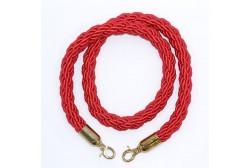 Barrier rope red 1.5 m, golden hook