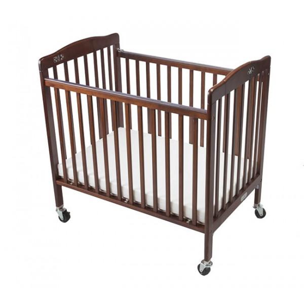 Baby Crib Foldable Dark Brown Hotellitarbed