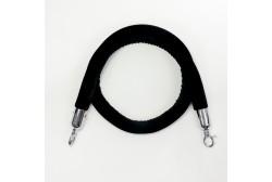 Barrier rope velour black 1.5 m, silver hook