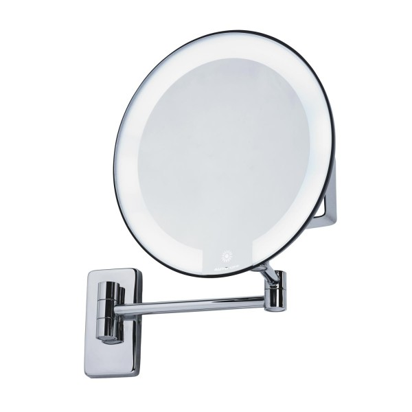 Mirror with light battery hotellitarbed for Miroir grossissant lumineux mural