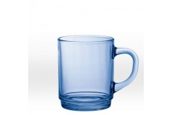 Transparent blue mug 26 cl, tempered glass