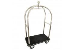 Luggage trolley silver, black carpet
