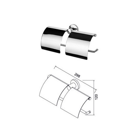 Toilet roll holder double with cover Geesa