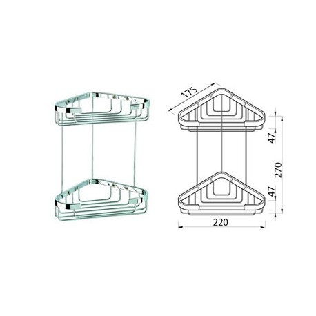 Corner basket double, medium Geesa