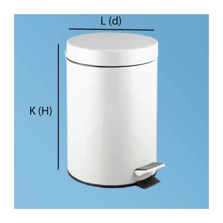 Bin with pedal 3L white