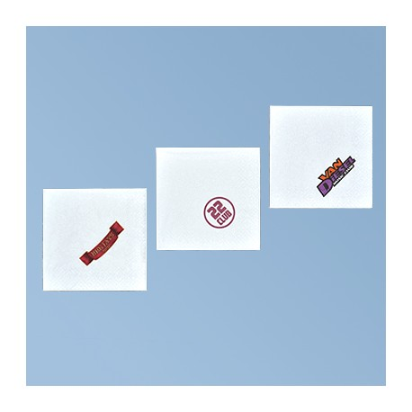 Pabersalvrätik logoga 25*25cm, valge 3kih, 1/4