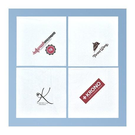 Napkin with logo 33*33cm, white 2ply, 1/4