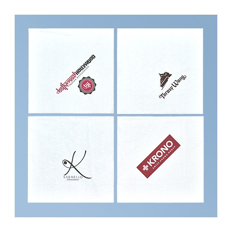 Napkin with logo 33*33cm, white 3ply, 1/4