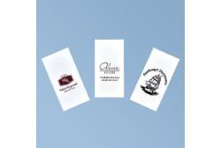 Pabersalvrätik logoga 33*33cm, valge 3kih, 1/8