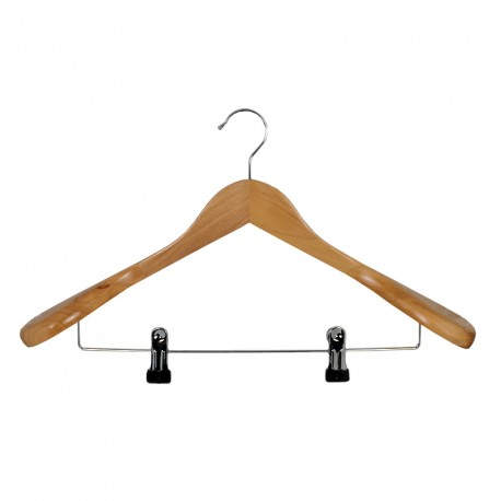 Wooden hanger with broad shoulders, metal clips, natural wood colour