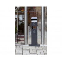 Rectangular ash tray/waste bin outdoor, dark grey