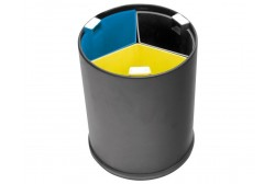 Waste bin 13L, black, 3 compartments