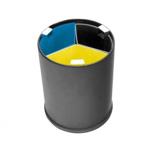 Waste Bin 13l Black 3 Compartments Hotellitarbed