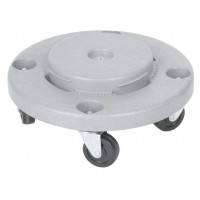 Strong plastic container with lid & wheels 120 L, grey