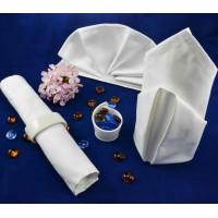 Napkin 56*56 cm, satin frame, white, 100% cotton