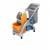 Wet mop trolley 50 l, with waste bag