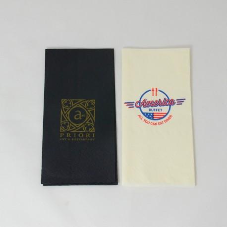Napkin with logo 33*33 cm, colour tissue, 3 ply, 1/8