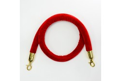 Barrier rope velour red 1.5 m, golden hook