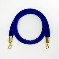 Barrier rope velour blue 1.5 m, golden hook
