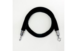 Barrier rope velour black 1.5 m, silver hook