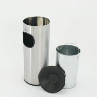 Waste bin-ashtray 30L with metal insert silver mat