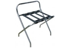 Metallic chrome luggage rack with back