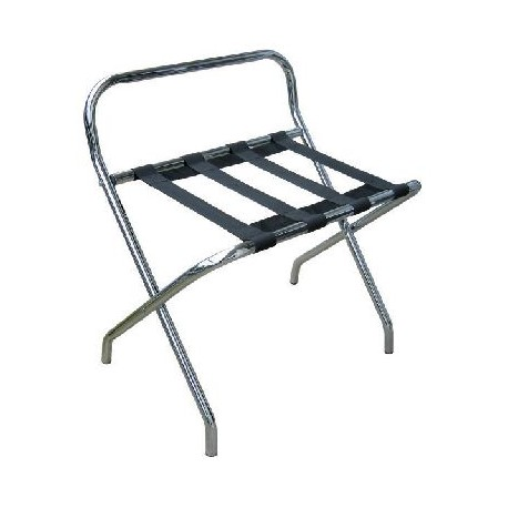 Metallic chrome luggage rack with back