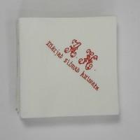 Napkin with logo 40*40cm, white 3ply, 1/4