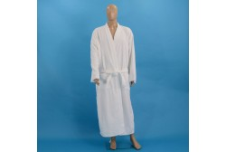 Velour chequered bathrobe XL white