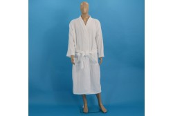 Velour chequered bathrobe L white