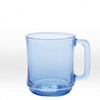 Transparent blue mug 31 cl, tempered glass