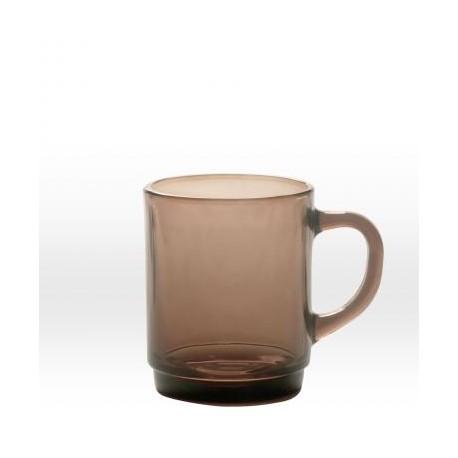 Transparent dark brown mug 26 cl, tempered glass