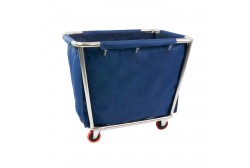 Dirty linen cart, blue bag
