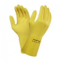 Latex glove flock lined L/8.5 yellow Ansell