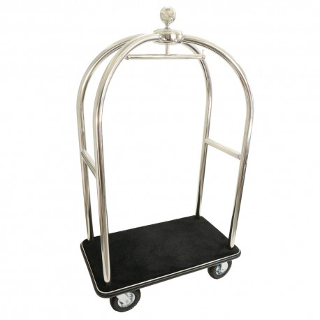 Luggage trolley silver, black carpet