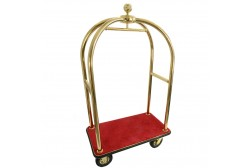 Luggage trolley golden, red carpet