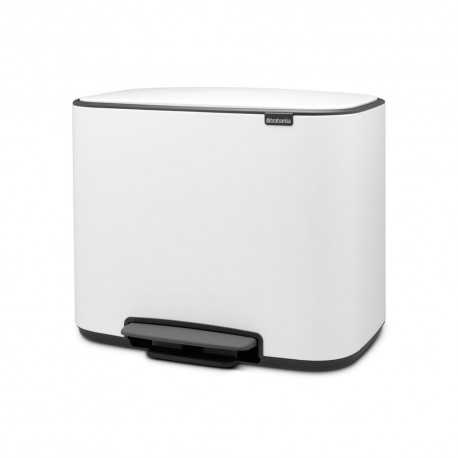 Waste bin 3 x 11L, white, 3 compartments