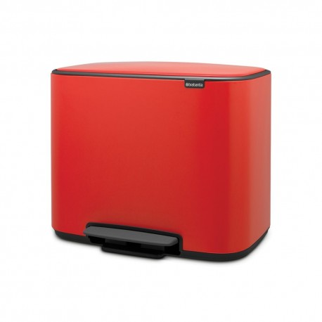 Waste bin 3 x 11L, passion red, 3 compartments