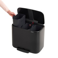 Waste bin 3 x 11L, matt black, 3 compartments