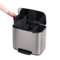 Waste bin 3 x 11L, matt steel, 3 compartments