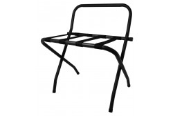 Metal luggage rack with back, black