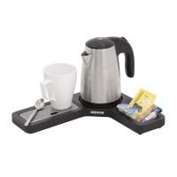 L-shaped hospitality tray set Compact, black