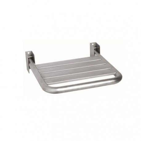Wall mounted shower seat, brushed, stainless steel