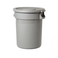 Strong plastic container with lid & wheels 168 L, grey