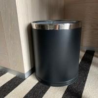 Double wall waste basket 10L, black