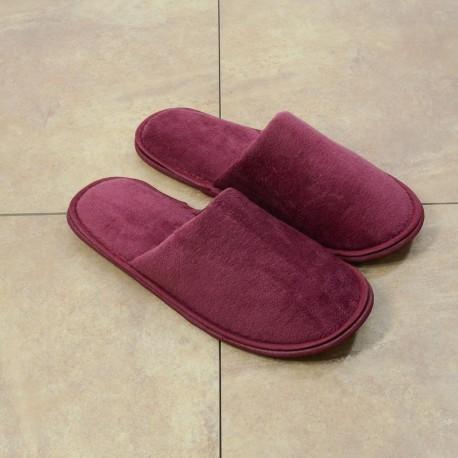 Женские красные махровые тапочки