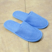 Blue terry slipper closed toe