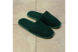 Green terry slipper closed toe