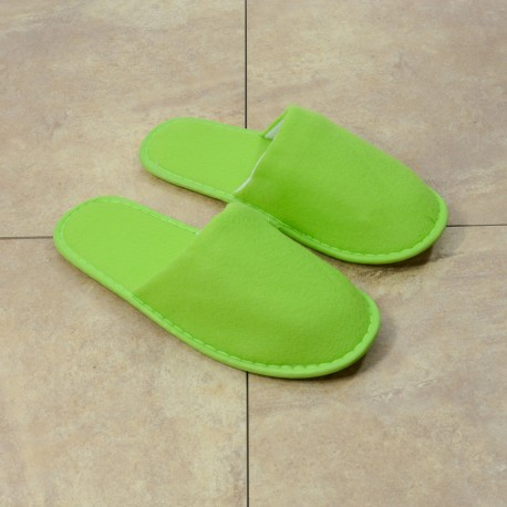 Women light green terry slipper closed toe