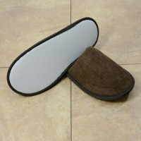 Brown terry slipper closed toe